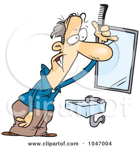 -Free (RF) Clip Art Illustration of a Cartoon Man Combing His Hair ...