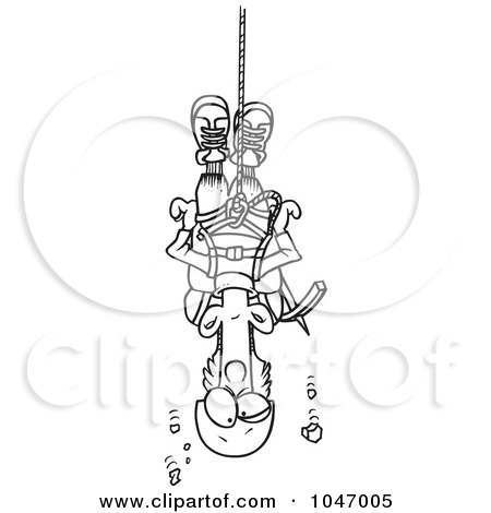 Royalty-Free (RF) Clip Art Illustration of a Cartoon Black And White Outline Design Of A Climber Suspended From Rope by toonaday