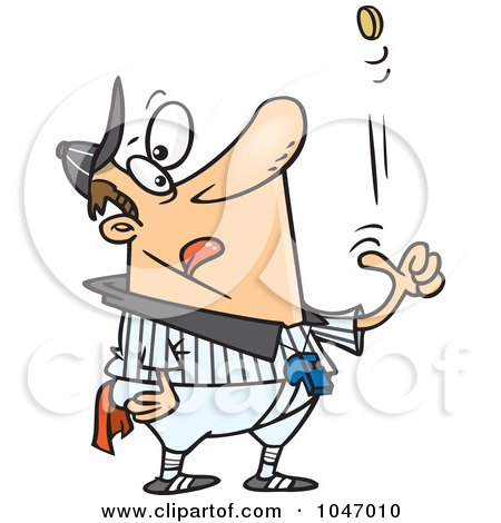 Royalty-Free (RF) Clip Art Illustration of a Cartoon Coach Tossing A Coin by toonaday