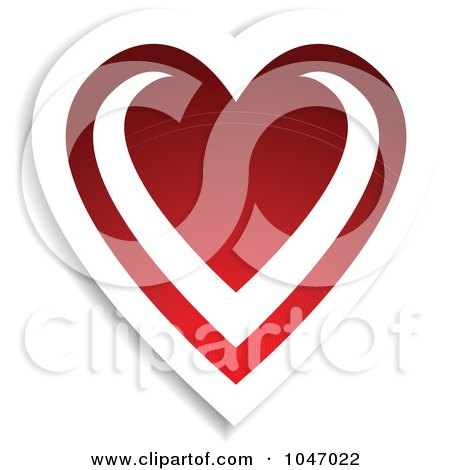 Royalty-Free (RF) Clip Art Illustration of a Red And White Love Heart Sticker With A Shadow by KJ Pargeter