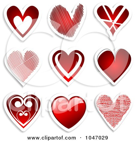 Royalty-Free (RF) Clip Art Illustration of a Digital Collage Of Red Heart Stickers With Shadows by KJ Pargeter