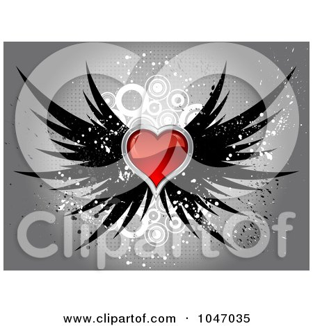 Royalty-Free (RF) Clip Art Illustration of a Shiny Red Heart With Black Wings Over Gray Halftone Circle Grunge by KJ Pargeter