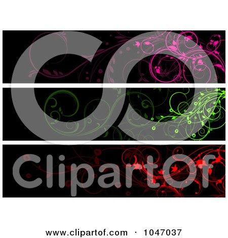 Royalty-Free (RF) Clip Art Illustration of a Digital Collage Of Pink, Green  Red And Black Floral Vine Website Banner Panels by KJ Pargeter