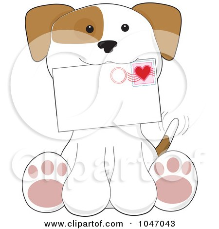 Royalty-Free (RF) Clip Art Illustration of a Sitting Puppy Holding A Valentines Day Letter by Maria Bell