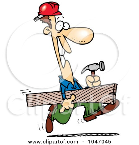 Royalty-Free (RF) Clip Art Illustration of a Cartoon Construction Guy Carrying A Board by toonaday