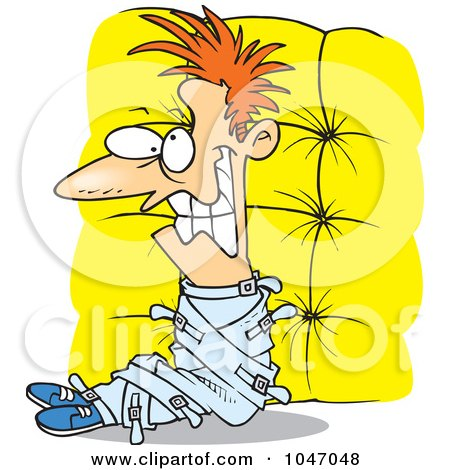 Royalty-Free (RF) Clip Art Illustration of a Cartoon Crazy Man In A Padded Room by toonaday