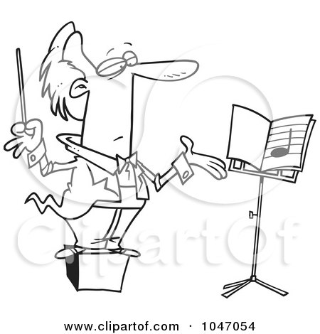 Royalty-Free (RF) Clip Art Illustration of a Cartoon Black And White Outline Design Of A Conductor On A Podium by toonaday