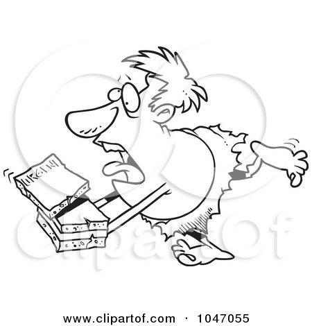 Royalty-Free (RF) Clip Art Illustration of a Cartoon Black And White Outline Design Of A Caveman Courier by toonaday