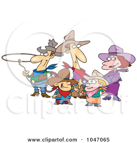 Royalty-Free (RF) Clip Art Illustration of a Cartoon Western Cowboy Family by toonaday