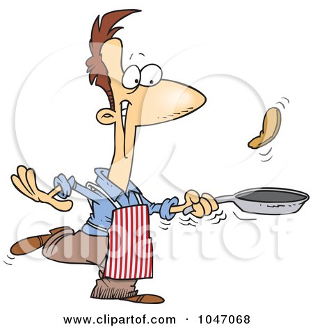 Royalty-Free (RF) Clip Art Illustration of a Cartoon Man Flipping Pancakes by toonaday