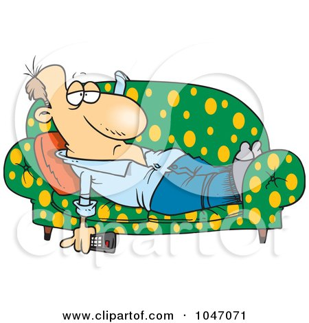 Royalty-Free (RF) Clip Art Illustration of a Cartoon Lazy Man Watching Tv On A Sofa by toonaday