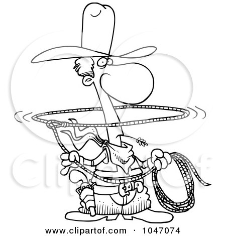 Royalty-Free (RF) Clip Art Illustration of a Cartoon Black And White Outline Design Of A Lasso Cowboy by toonaday