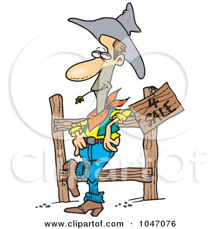 Royalty-Free (RF) Clip Art Illustration of a Cartoon Western Cowboy Selling Property by toonaday