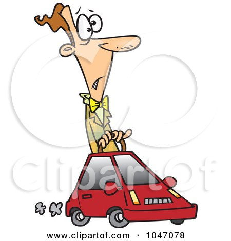 Royalty-Free (RF) Clip Art Illustration of a Cartoon Man Driving A Compact Car by toonaday