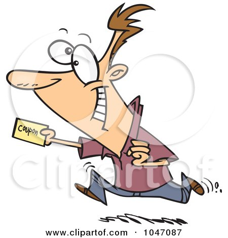 Royalty-Free (RF) Clip Art Illustration of a Cartoon Man Using A Coupon by toonaday