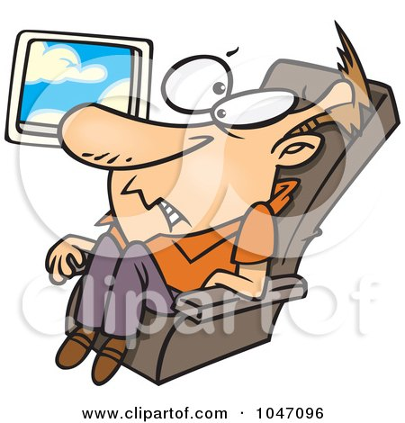 Royalty-Free (RF) Clip Art Illustration of a Cartoon Confined Man On An Airplane by toonaday