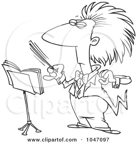 Royalty-Free (RF) Clip Art Illustration of a Cartoon Black And White Outline Design Of A Conductor Waving His Wand by toonaday