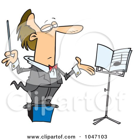 Royalty-Free (RF) Clip Art Illustration of a Cartoon Conductor On A Podium by toonaday