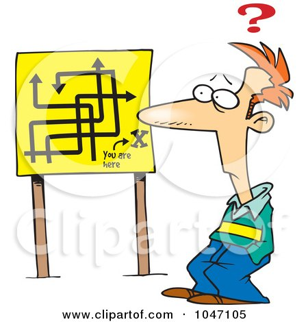 Royalty-Free (RF) Clip Art Illustration of a Cartoon Confused Man Viewing An Arrow ...