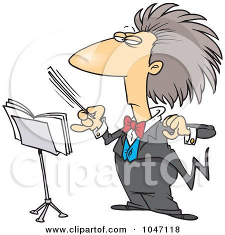 Royalty-Free (RF) Clip Art Illustration of a Cartoon Conductor Waving His Wand by toonaday