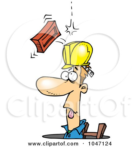 Royalty-Free (RF) Clip Art Illustration of a Cartoon Brick Falling On A Construction Guy In A Man Hole by toonaday