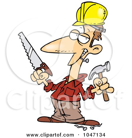 Royalty-Free (RF) Clip Art Illustration of a Cartoon Construction Guy Holding A Hammer And Saw by toonaday