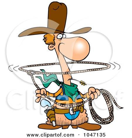Royalty-Free (RF) Clip Art Illustration of a Cartoon Lasso Cowboy by toonaday
