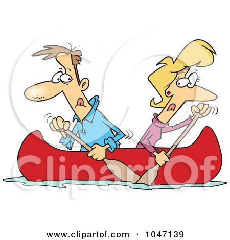 Royalty-Free (RF) Clip Art Illustration of a Cartoon Couple Rowing A Canoe In Opposite Directions by toonaday