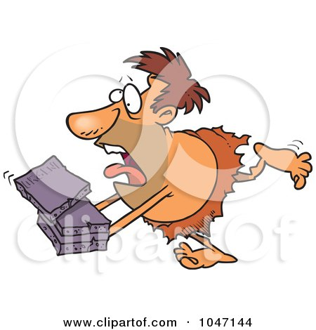 Royalty-Free (RF) Clip Art Illustration of a Cartoon Caveman Courier by toonaday