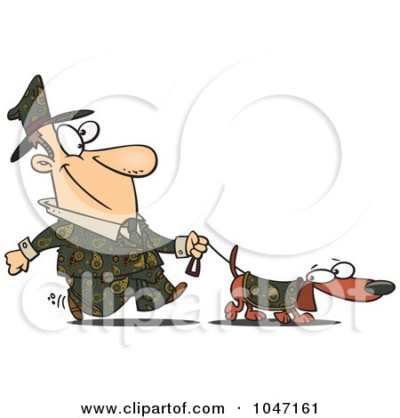 Royalty-Free (RF) Clip Art Illustration of a Cartoon Man Dressed In Paisley, Walking His Wiener Dog by toonaday