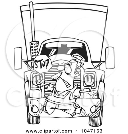 Royalty-Free (RF) Clip Art Illustration of a Cartoon Black And White Outline Design Of A Big Rig Hitting A Crossing Guard by toonaday