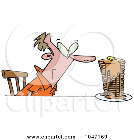 Royalty-Free (RF) Clip Art Illustration of a Cartoon Man With Buttery Pancakes by toonaday