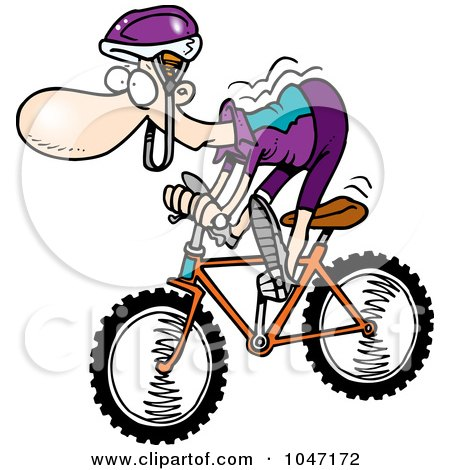 Royalty-Free (RF) Clip Art Illustration of a Cartoon Mountain Biker by toonaday