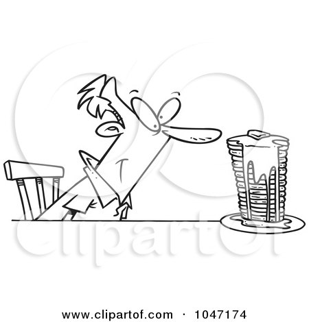 Royalty-Free (RF) Clip Art Illustration of a Cartoon Black And White Outline Design Of A Man With Buttery Pancakes by toonaday