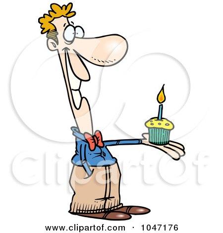 birthday cupcakes cartoon. Cartoon Man Holding A Birthday