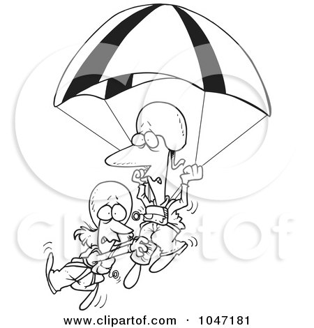 Royalty-Free (RF) Clip Art Illustration of a Cartoon Black And White Outline Design Of A Couple Parachuting by toonaday