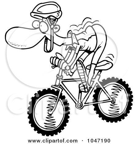 Royalty-Free (RF) Clip Art Illustration of a Cartoon Black And White Outline Design Of A Mountain Biker by toonaday