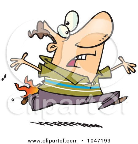 Royalty-Free (RF) Clip Art Illustration of a Cartoon Man Running With His Pants On Fire by toonaday