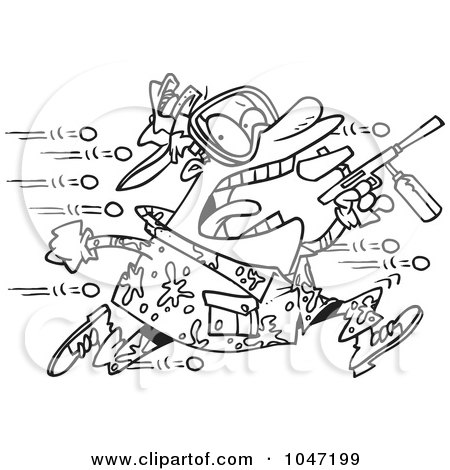 Royalty-Free (RF) Clip Art Illustration of a Cartoon Black And White Outline Design Of A Man Being Hit With Paintballs by toonaday