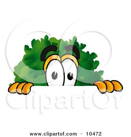 Clipart Picture of a Tree Mascot Cartoon Character Peeking Over a Surface by Toons4Biz