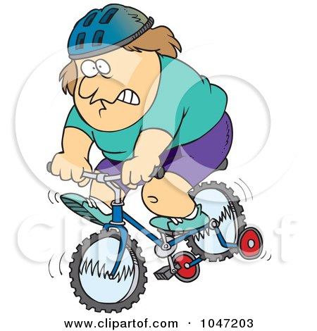 Royalty-Free (RF) Clip Art Illustration of a Cartoon Chubby Man Riding A Bike With Training Wheels by toonaday