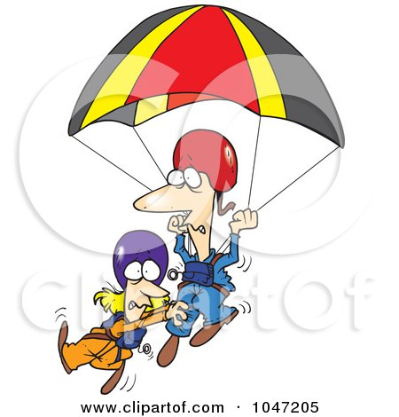 Royalty-Free (RF) Clip Art Illustration of a Cartoon Couple Parachuting by toonaday
