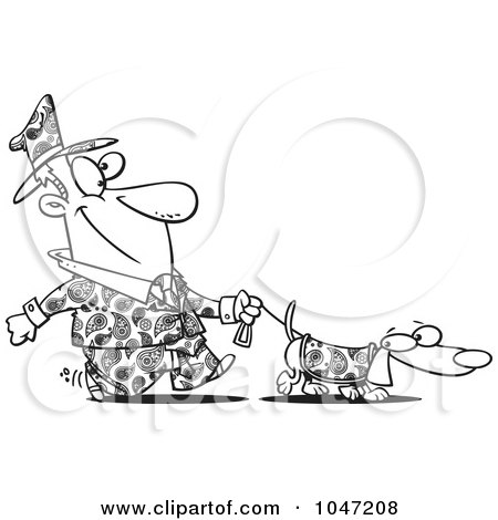 Royalty-Free (RF) Clip Art Illustration of a Cartoon Black And White Outline Design Of A Man Dressed In Paisley, Walking His Wiener Dog by toonaday