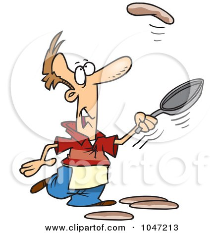 Royalty-Free (RF) Clip Art Illustration of a Cartoon Man Learning To Flip Pancakes by toonaday