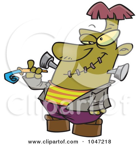 Royalty-Free (RF) Clip Art Illustration of a Cartoon Frankenstein With A Noise Marker by toonaday