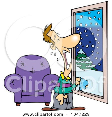 Royalty-Free (RF) Clip Art Illustration of a Cartoon Man Crying At A Snowy Window by toonaday