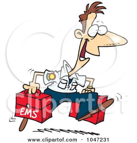 Royalty-Free (RF) Clip Art Illustration of a Cartoon Happy Paramedic by toonaday