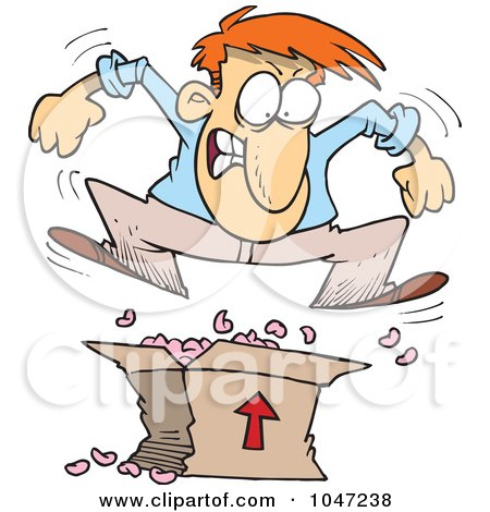 Royalty-Free (RF) Clip Art Illustration of a Cartoon Man Jumping On Packing Peanuts In A Box by toonaday