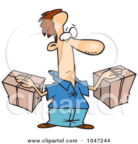 Royalty-Free (RF) Clip Art Illustration of a Cartoon Man Stuck To His Packages by toonaday