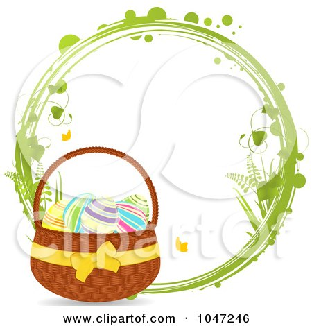 Royalty-Free (RF) Clip Art Illustration of a Green Grungy Ring With An Easter Basket by elaineitalia